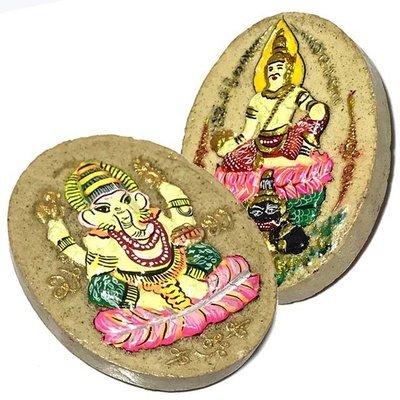 Pra Pikanes Hlang Pra Narai Pratap Rahu Wai Kroo 2551 BE Green Robed Ganesha Red Robed Vishnu - Ivory Powders - Kroo Ba Krissana
