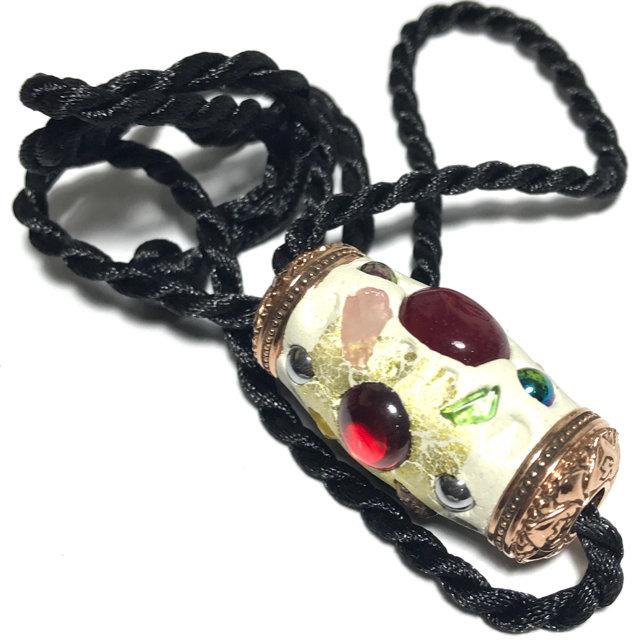 Takrut Paya Nak Suriya 2560 BE Naga Spell for Power, Promotion and Wealth Sacred Clay Coated Precious Gems Lek Lai Chanuan Beads - Pra Ajarn Som