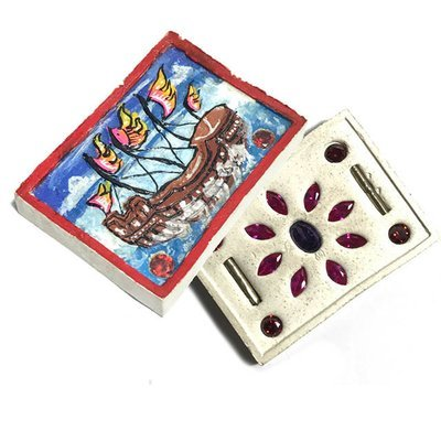 Sampao Jao Sua Wealthy Merchant Ship 2556 BE Red Magenta and Purple Gems 2 Takrut Only 500 made Kroo Ba Krissana