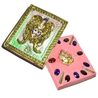 Taep Jamlaeng Roman Pim Klang A2 Asrom Sathan 2556 BE Pink Powders Gold Leaf 4 Takrut 14 Gems Ganesha God - Kroo Ba Krissana Only 56 Made
