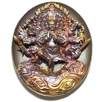 Rian Pra Tanabodee Maha Sethee Champol - Nuea Bronze Phiw Fai Pragay Rung - Vaisaravana Vajrayana Deity of Wealth Blessed at Borobudur Indonesia