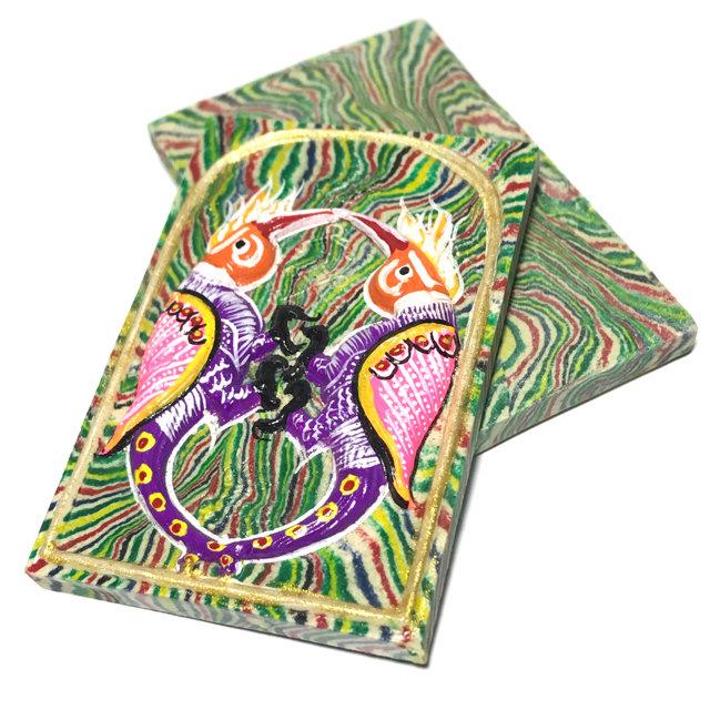 Sariga Dong Hang Giaw Pim Yai 2552 BE - Sai Rung Green Rainbow Powders Purple Pink Orange Bird 6.5 x 4.5 Cm Kroo Ba Krissana