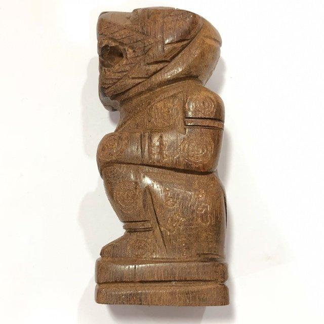 Krabi Nang Yong Mai Gae 4.4 Inches Carved Hanuman Statue Hand Inscribed Sacred Wood Statue Luang Por Bpun