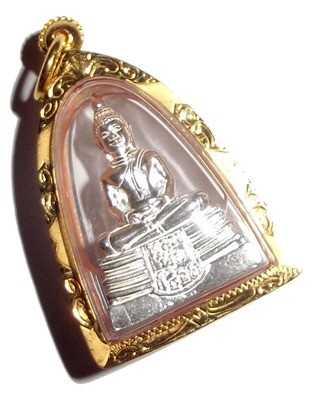 Pra Luang Por Sotorn Loi Ongk Statuette - Solid Silver Buddha with Solid Gold Casing - Benja Nava Mongkol Edition 2555 BE - Wat Sotorn Voraram
