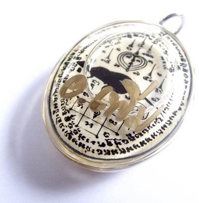 2 Tails Gecko locket for Enchantment Seduction and Suave Speech, Immersed in Sacred Prai Oils -  Ajarn Perm Prai Dam