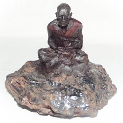 Por Tan Khai sitting on Lek Lai - 4 x 3 x 4 Inch Bucha Statue- Por Tan Khai + 5 Khao or Masters at Wat Lam Nao + Wat Ban Suan