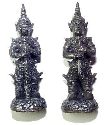 Taw Waes Suwan Song Hnaa (two faced Waes Suwann with Deva and Yaksa face) - 5 Cm High 3 Takrut Luang Phu Phad - Wat Ban Gruad 2552 BE