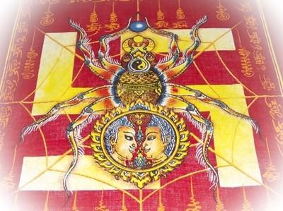 Pha Yant Maeng Mum Maha Lap - Money Catching Spider (Red) - Kroo Ba Krissana Intawanno- Sae Yid 60 Edition 2557 BE