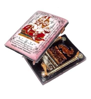 Locket Taep Paetch Payatorn (Pink) Nia Kajia 2556 BE - 4 Pearls, 1 Paetch Payatorn, 10 Takrut (5 Silver, 5 Python) - Luang Phu In - Free Casiing