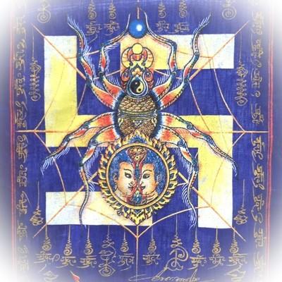 Pha Yant Maeng Mum Money Catching Spider - Blue Sacred Yant Cloth- Kroo Ba Krissana Intawanno- Sae Yid 60 Edition