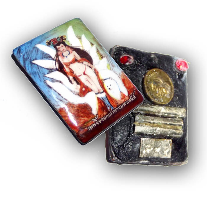 9 Tails Fox Demoness Enchantress Locket 3rd Edition with Sacred Powders 3 Takrut 2 Gems One 9 Tails Fox amulet insert Bantian Mian Jia 2556 BE Luang Phu In