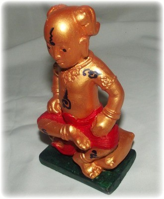 Kumarn Taep Metta Bad Upasak 5.5 Inch High Bucha Statue - Wai Kroo 2552 BE Edition - Takrut Spell insert  to Protect & Remove Obstacles - Ajarn Tong Teng