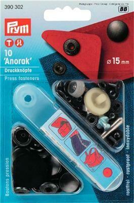 """Drukknopen """"anorak"""" 15mm antraciet"""