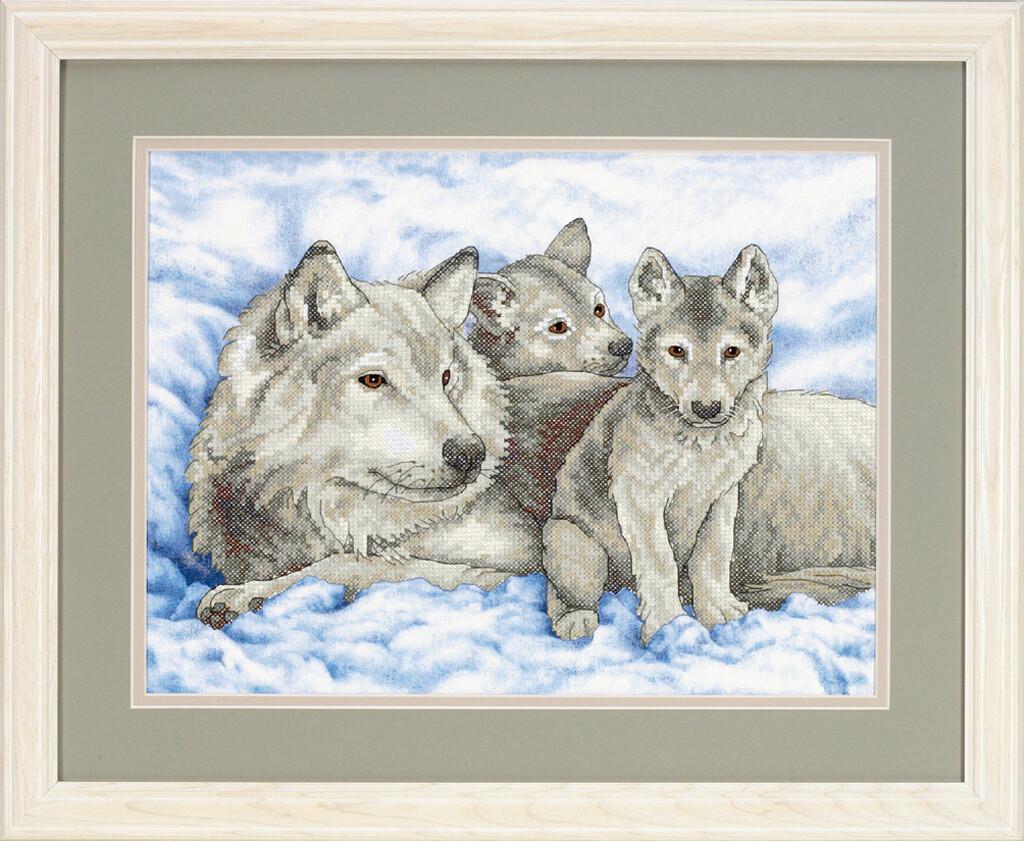 "Kruissteek ""Mother Wolf and Pups"""