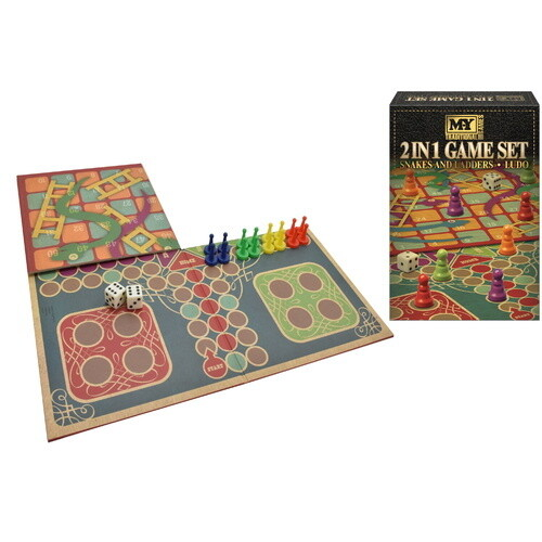 2 in 1 snakes and ladders set