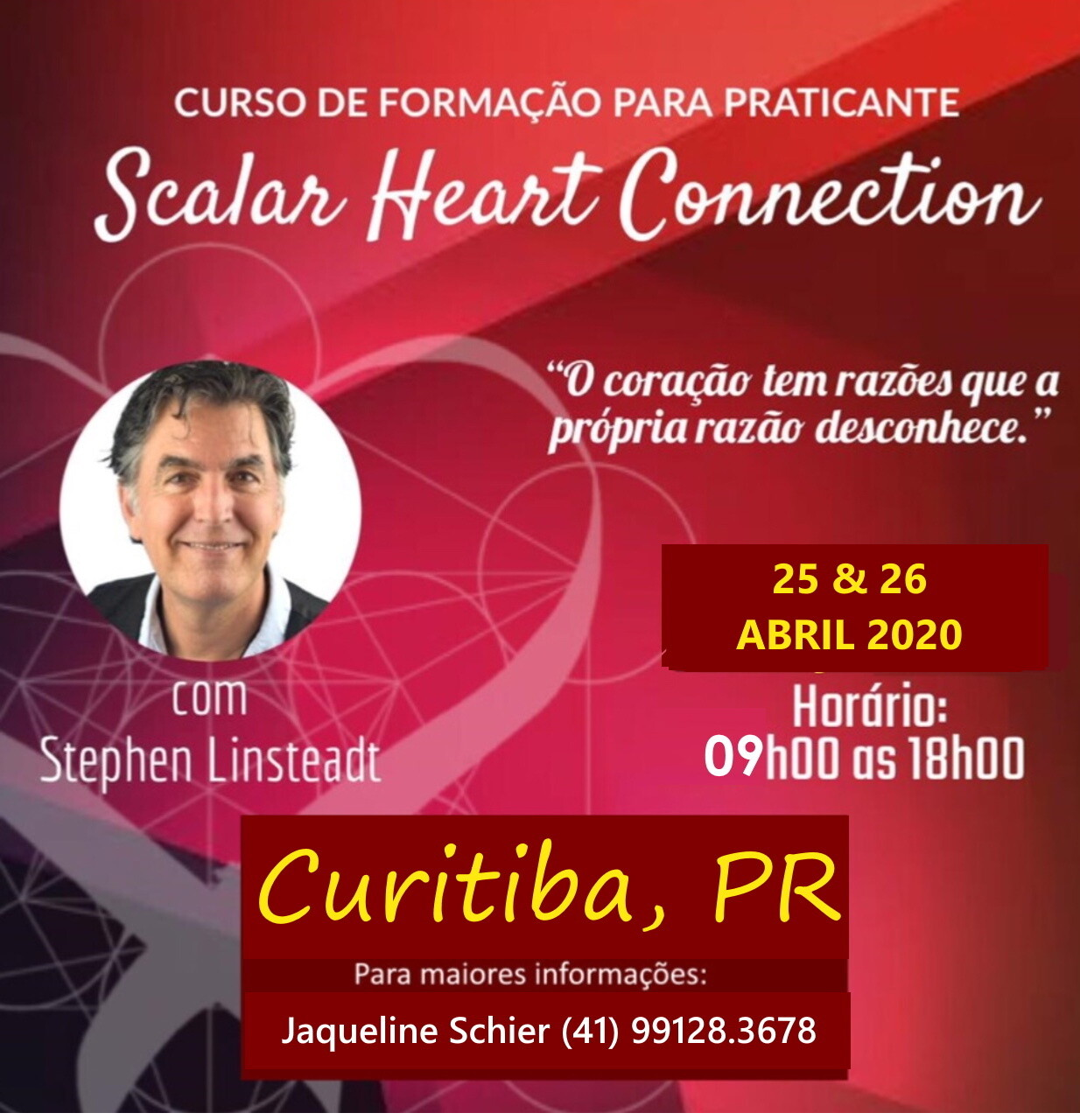 Curso de Formação de Praticante de Scalar Heart Connection -  Curitiba, PR Evento adiado para nova data durante o segundo semestre de 2020.