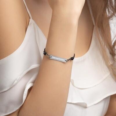 EBGM Engraved Silver Bar String Bracelet