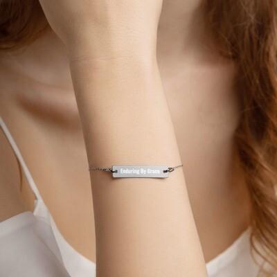 EBGM Engraved Silver Bar Chain Bracelet