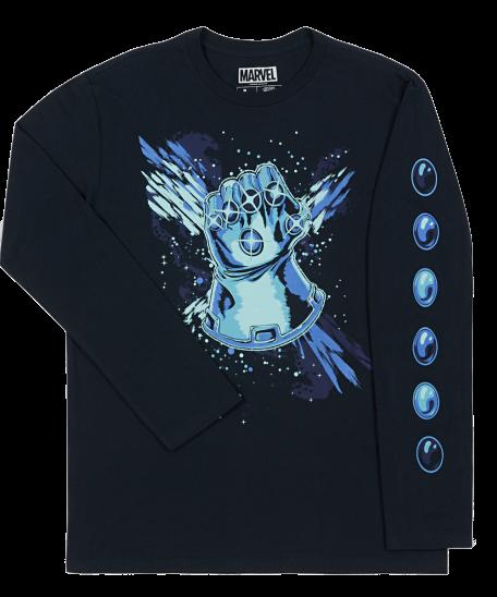 Marvel Thanos Long Sleeved 'Gauntlet' Printed T-Shirt