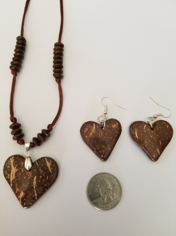 Coconut Heart Earring Necklace Set #2