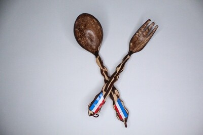 Decorative Coconut Spoon/Fork set