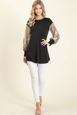 Make a Statement Snake Skin Ballon Sleeve Top