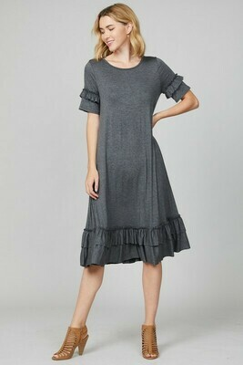 Dare to be Casual Gray Midi Dress with Ruffle Trim