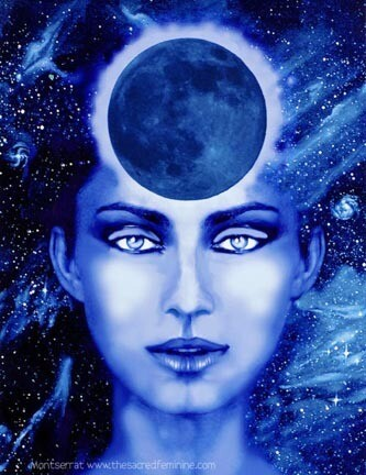 New Moon Goddess Post Card by Montserrat