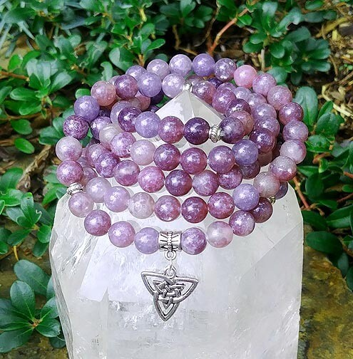 Lepidolite and Triquetra 108 Prayer Beads