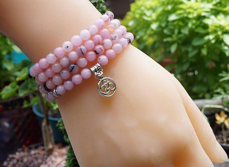 Pink Peruvian Opal 108 Prayer Beads