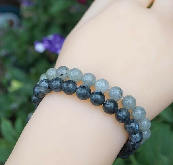 Larvikite and Labradorite Duo Bracelets