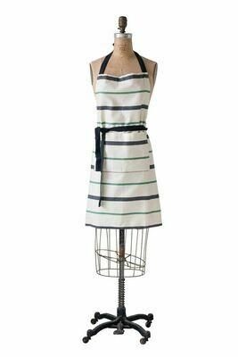 Cotton Print Apron Black/Green/Natural Stripe