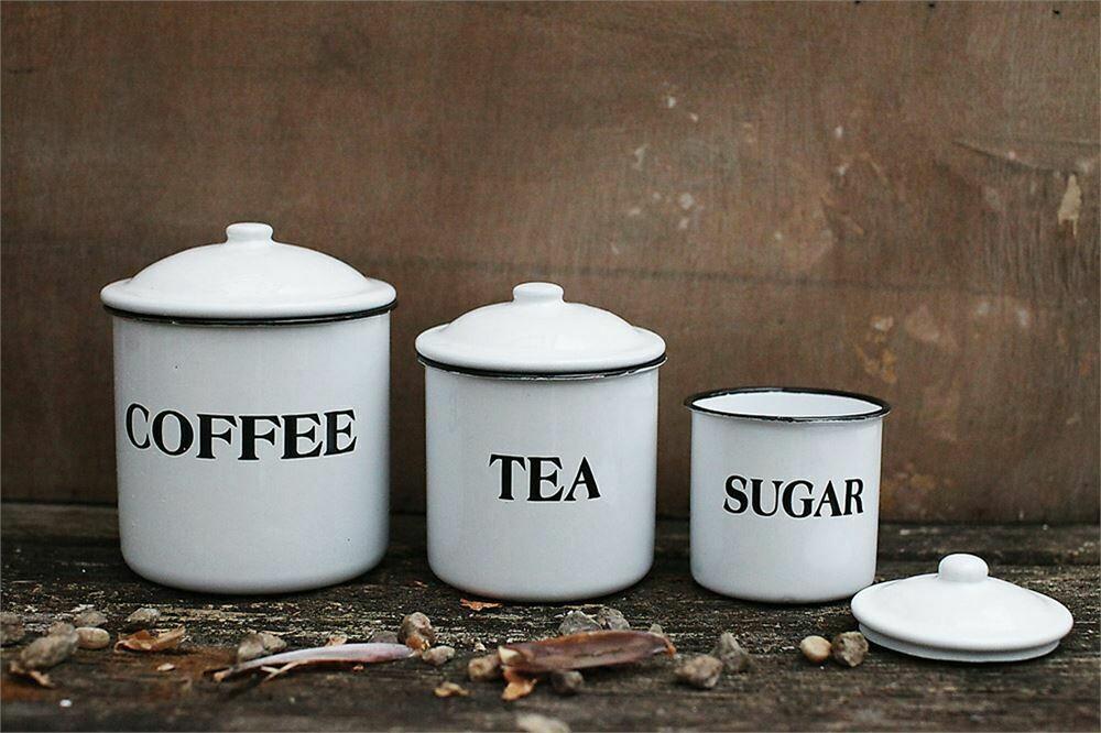 Enameled Metal Set of 3 Coffee, Tea & Sugar Canisters