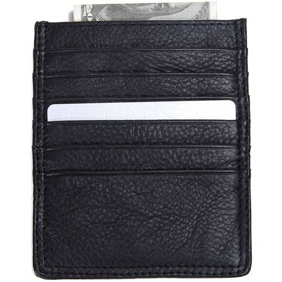 Leather Double Sided Card Holder-Black