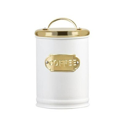White & Gold Metal Coffee Tin
