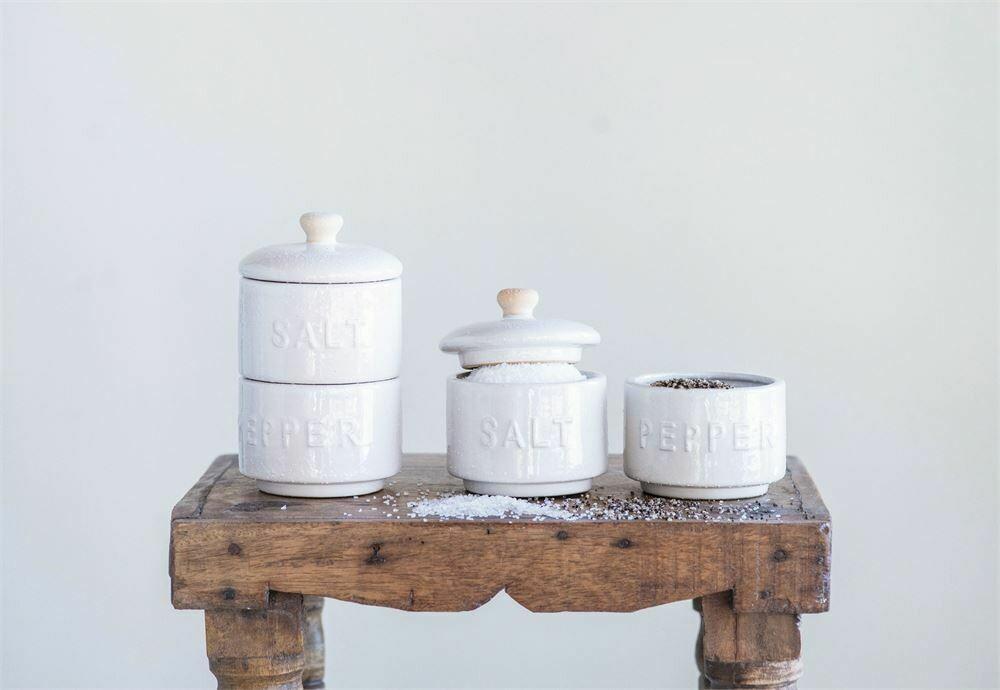 Stoneware Stackable Salt & Pepper