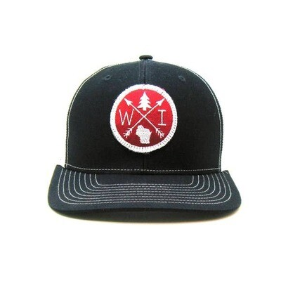 Navy & Red WI Patch Hat- Gracie Designs