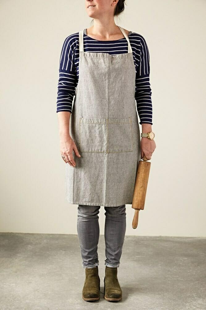 Cotton Chambray Apron w/ Pockets & Mustard Detail