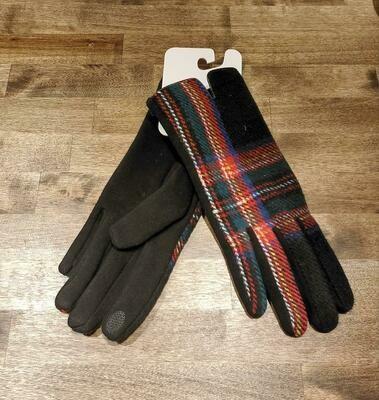 Gloves- Black Plaid