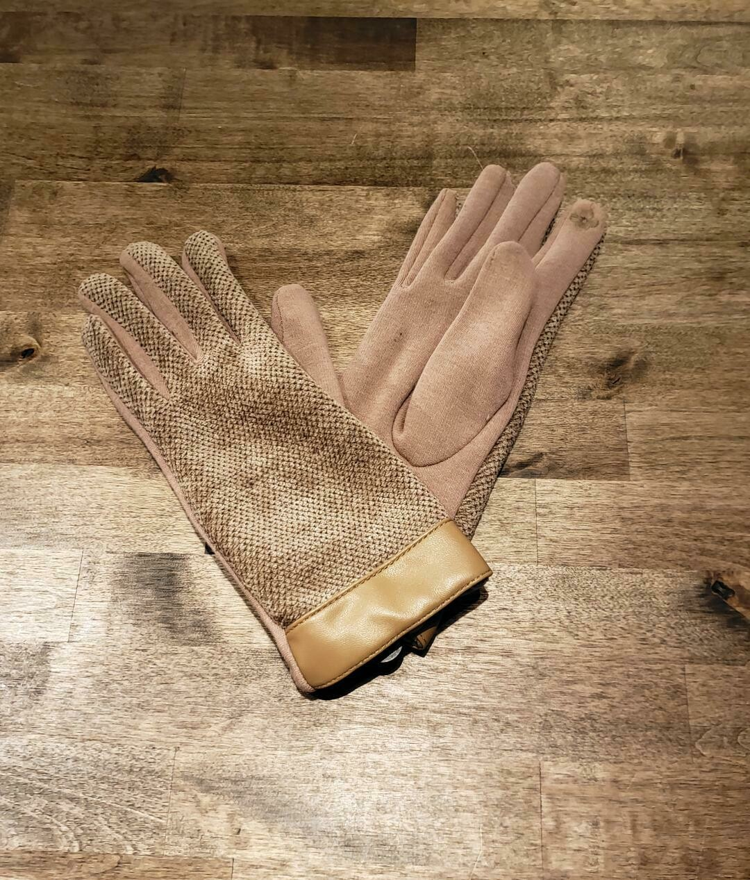 Leather Trimmed Chenille Gloves- Olive& Pique Beige