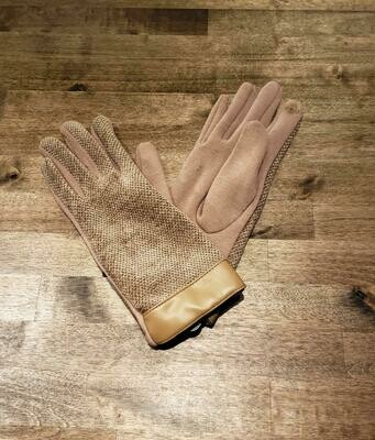 Leather Trimmed Chenille Gloves- Beige