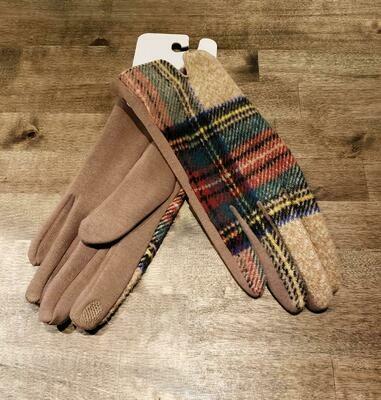 Gloves- Olive& Pique Beige Plaid
