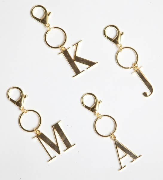 Gold Initial Keychain - 8 Oak Lane