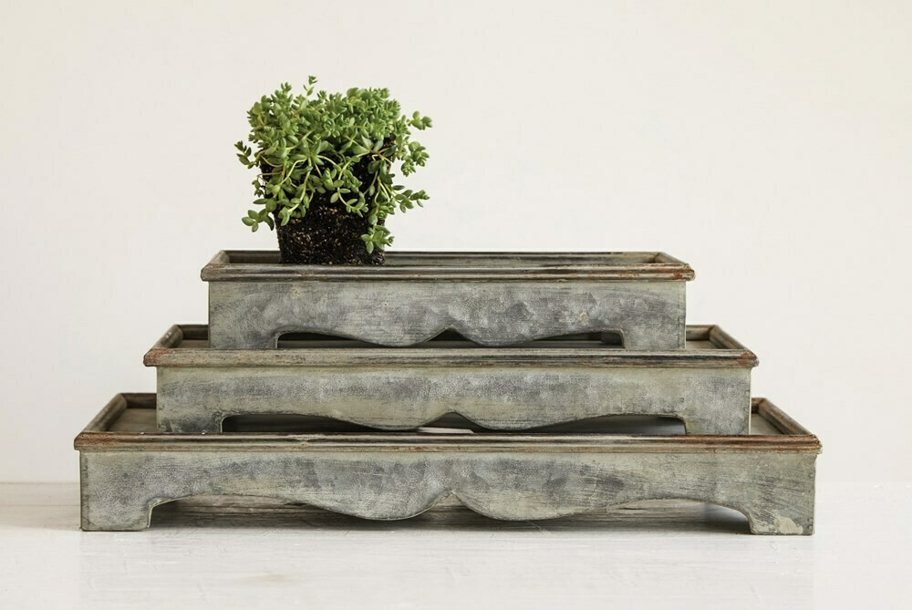 Galvanized Rectangle Pedestal