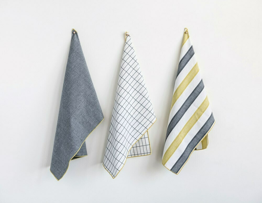 Yellow & Grey Tea Towel Set Of 3