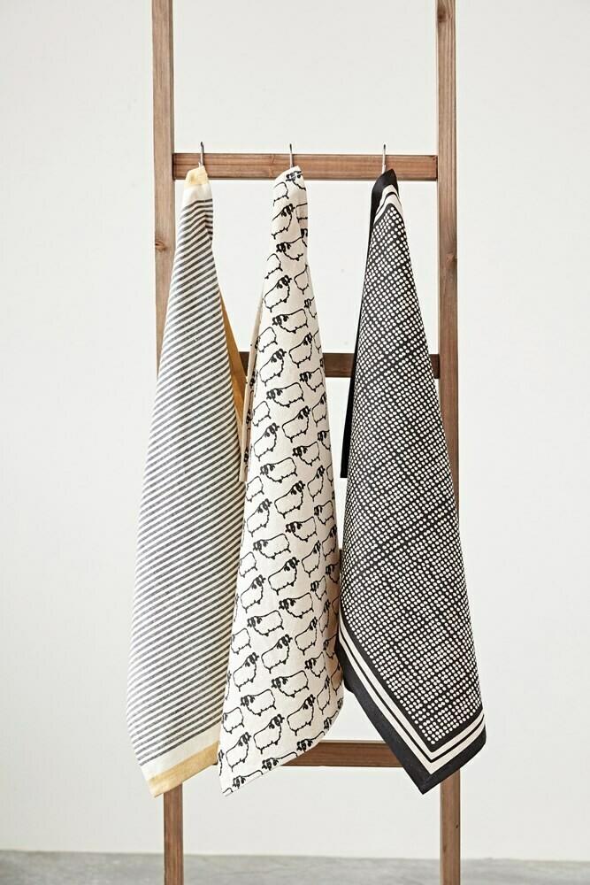 Polka Dottie & Stripe Cotton Tea Towel Set Of 3