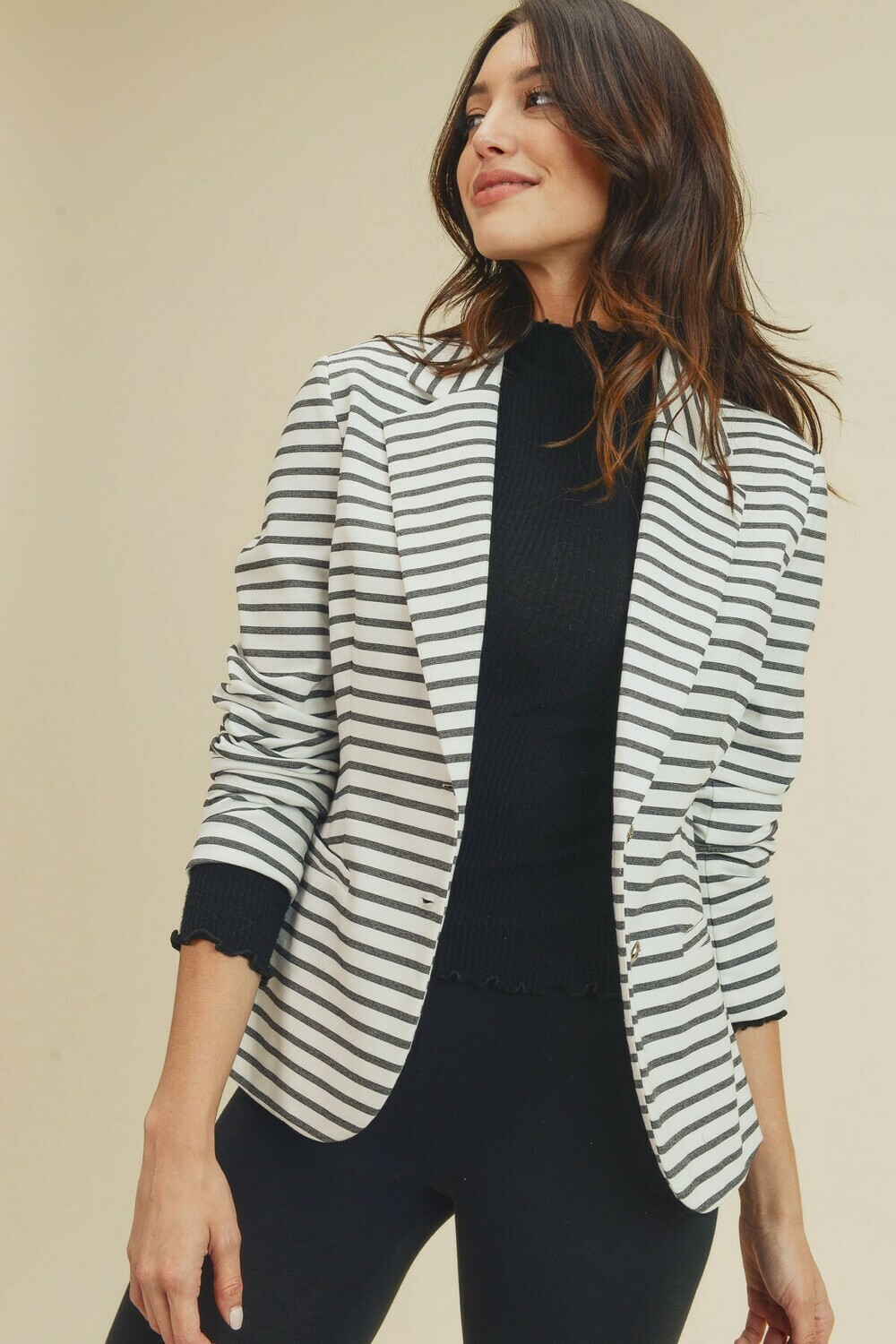 Stripe Double Button Blazer