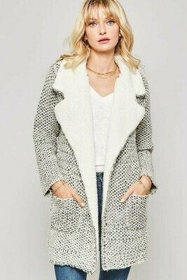Two Toned Crochet Knit Cardigan- Promesa
