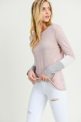 Color Block Thin Sweater- Dusty Pink