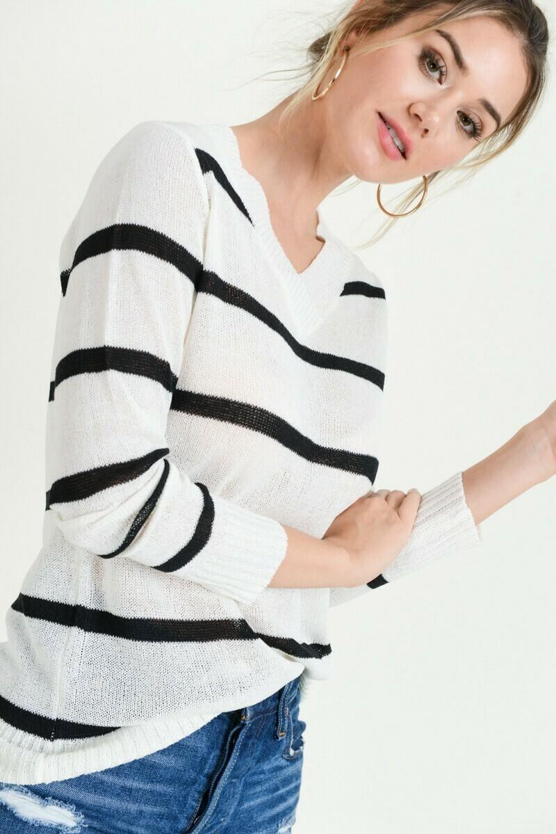 V-neck Stripe Sweater- Doe & Rae